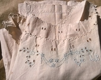 Unused Victorian 1850's Linen Nightgown Handmade French Dress Monogram Embroideries Cut Works Costumes Movies Plays #sophieladydeparis