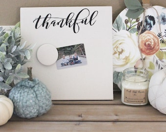Recipe Holder - Thankful Magnet Board - Menu Planner - Magnet Picture Frame - Message Board - Memory Board - Hostess Gift - Fall Decor