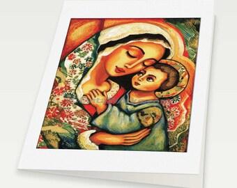 Virgin Mary Jesus child Madonna with Child mother child art motherhood Christian folk art, mother woman card, woman card, 6x8