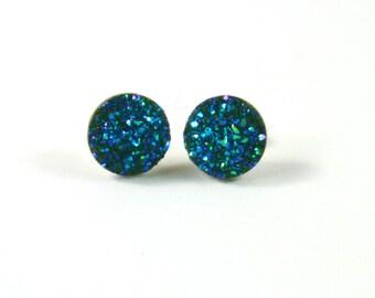 Sparkly earrings, Turquoise earrings, Sparkly studs, Druzy earrings, Druzy studs