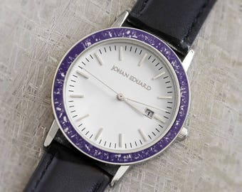 Purple Watch With Meteorite And Black Leather Straps, Stardust Wristwatch, Unique Stardust Gifts