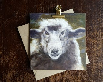 Needle felted sheep card 14 x 14 cm