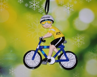Personalized Bike Rider Christmas Ornament