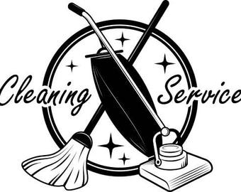 Cleaning Logo #9 Maid Service Housekeeper Housekeeping Clean Vacuum Mop Floors .SVG .EPS .PNG Digital Clipart Vector Cricut Cutting Download