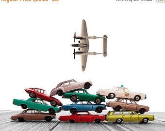 FLASH SALE til MIDNIGHT Vintage Matchbox Cars Stacked Airplane Fly By on White and Grey Background, Photo Print, Boys Room decor, Boys Nurse