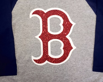 Boston Redsox Raglan Baseball Shirt with Glitter Logo