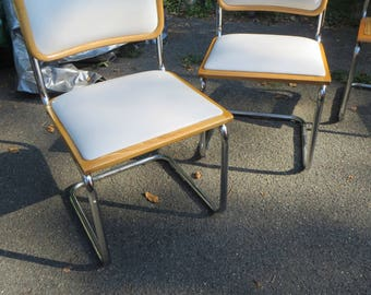 Cantilever Marcel Breuer Maple Cesca Dining Chairs  - White