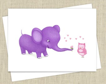 True Love Elephant and Owl Engagement Card, Anniversary Card