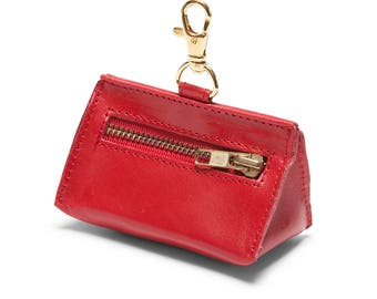 Leather Prism Pouch Red