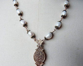Victorian Etruscan Revival Shaped Antique Assemblage Pendant Necklace with Freshwater Pearls