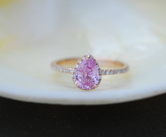 Pear Engagement Ring Raspberry Peach Sapphire Engagement Ring 14k Rose Gold 1.25ct, Pear Peach Sapphire Ring. Engagement ring Eidelprecious