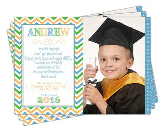 PreK Preschool or Kindergarten Graduation Announcement | Printable OR Professionally Printed | 5x7 | Invitation | Customized