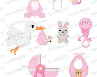 cute baby girl clip art 8 clip art set