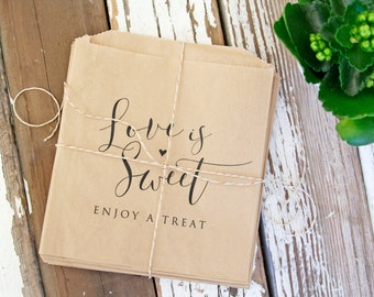 Love is Sweet - Kraft Wedding Favor Bags  - Baked Goods, Candy, Cookies, Donuts  - Reception or Bridal Shower Favor - 20 Food Safe Bags