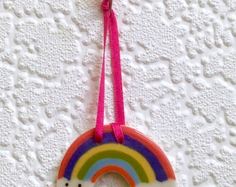 rainbow/porcelain rainbow/rainbow wall hanging/rainbow wallhanging/rainbow decoration/smiling rainbow/ceramic rainbow/rainbow art/weather