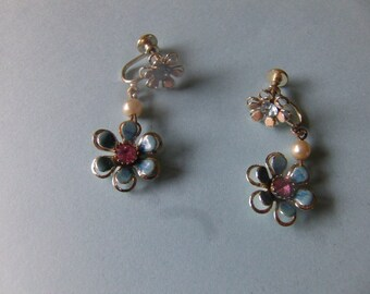 Vintage Blue & Pink Daisy Drop Earrings