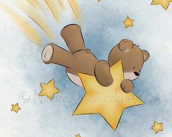 11 x 14 Teddy Bear Baby Nursery Wall Art, Childrens Art Print, Art for Childs Room Decor Shooting Star (153)