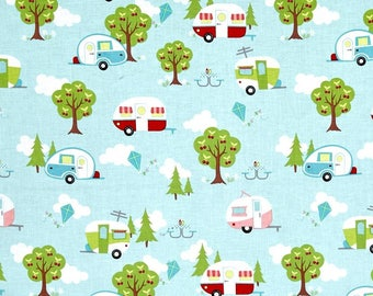 """Valance or Panel New AQUA CAMPER  Print  Cotton 40 x 12"""" 14"""" 18"""" 24"""" or 32"""" Lined or unlined"""