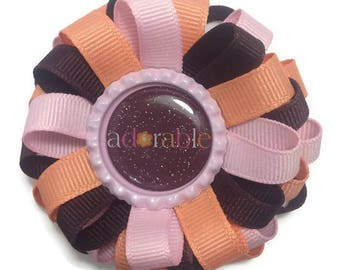 Adorable Hair Bow, Handmade Hair Bow, Fall Hair Bow, No Slip Hair Bow, Bottle Cap Hair Bow, Thanksgiving Bow, Pink Hair Bow, Brown Hair Bow