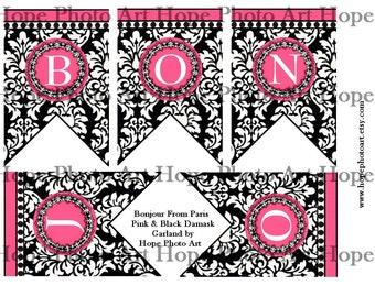 BoNjOuR Paris Damask Banner 3x4.5 Printable Digital Collage Sheet home garland decor pennant flags decoration bunting UPrint 300jpg
