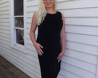 Basic 60s Black Velvet Dress Sleeveless Vintage M L