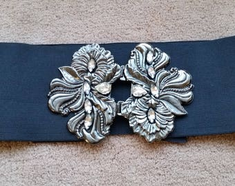 Vintage elastic belt with silver and rhinestone orchid buckle