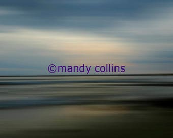 Fine Art Photography - 'Twilight on Traeth Crigyll' is an abstract artwork of a beautiful evening at Rhosneigr, Anglesey, North Wales.