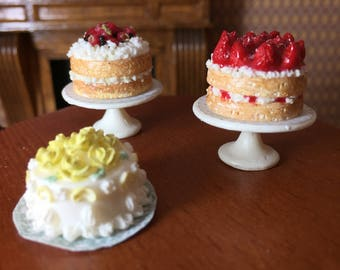 Choice of Four Beautiful Cakes for Your Dollhouse or Miniature Bakery