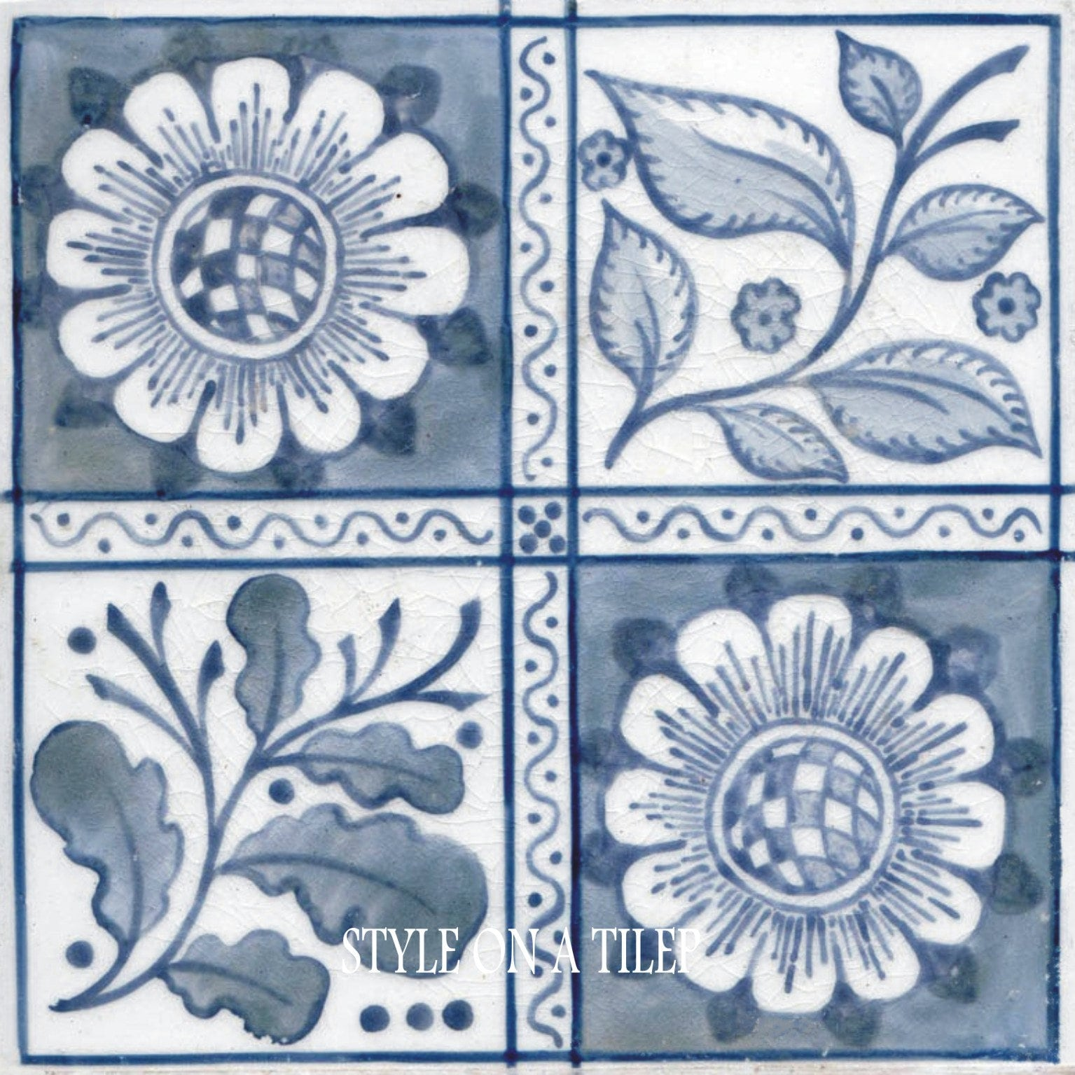 Lovely William Morris Blue Longden Flower 4.25/108mm ceramic tile ...