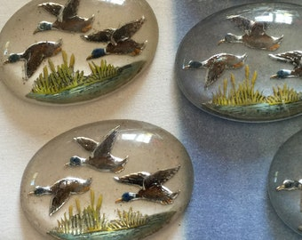 1 Vintage Glass Cabochon Hand-Painted Large Flying Geese Stone