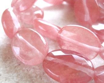 Quartz Beads 18 x 12mm Peach Watermelon Quartz Faceted Ovals - 4 Pieces