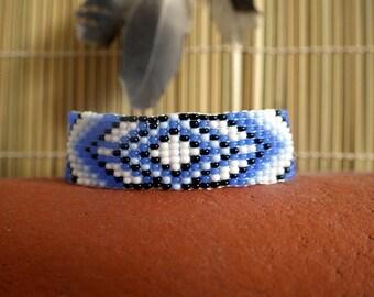 Blue Arrows Native America Style Bead Bracelet, Bead Loom Bracelet, Loom Bead Bracelet, Native America Style Jewelry