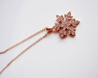 Rose Gold Snowflake Necklace, Sparkle Necklace, Modern Pendant, Rose Gold Jewelry Redpeonycreations