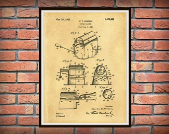 Patent 1923 Coffee Roaster - Wall Art Print - Kitchen Art- Poster - Restaurant Wall Art - Housewares - Coffee Shop Wall Art