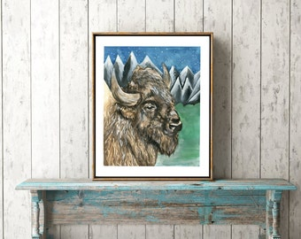 Buffalo Print, Buffalo Decor, Bison Art, Native American Art, Buffalo Wall Decor, Animal Art, Watercolor Print, Animal Art, Boho Art, Boho