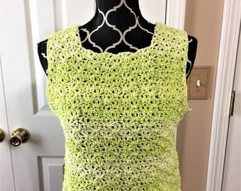 LIMEADE SHADES CROCHETED Small - Medium Tank Top, tee, for teens and women, tops, clothing, shirt, gifts