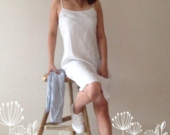 Linen Slip Dress, Simple Lovely Off White Linen Base Layer Dress, Underwear Dress Sleeveless Linen Dress or Linen Night Gown Plus size dress