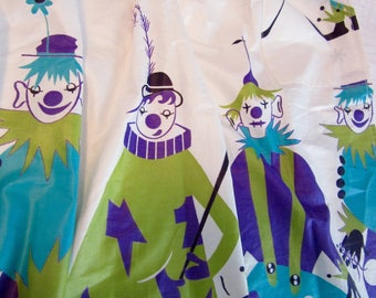 1950s NOVELTY APRON - Circus Clowns!  Vintage Border Print,  pristine NOS!  Mid century kitsch for your kitchen
