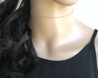 Choker Chain Necklace, 14k Gold Fill Choker Necklace, 14k Gold Choker Necklace, Dainty Choker Necklace, Delicate Choker Necklace, Choker