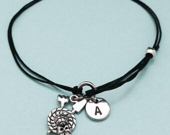 Gardener cord bracelet, gardener charm bracelet, adjustable bracelet, charm bracelet, personalized bracelet, initial bracelet, monogram