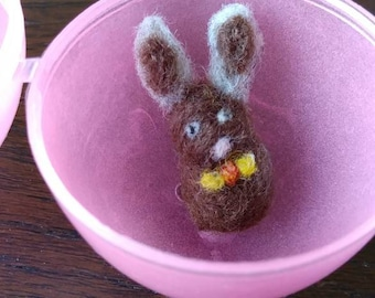 Extra needle felted mini bunny with glow in the dark egg, tiny rabbit, Easter mini handmade bunny with egg, Easter gift