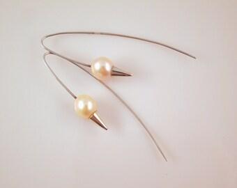 Champagne freshwater pearl drop earrings in sterling silver