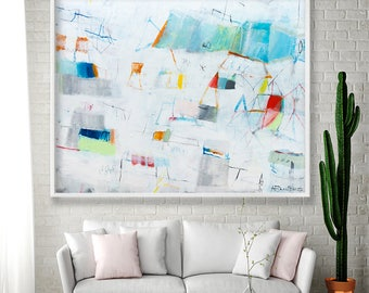 Large Abstract Art Print of White Painting Geometric Art modern print giclee Teal Copper Colorful Large Wall Art by Duealberi