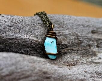 PETITE Turquoise Necklace - Stone Jewelry - Natural Turquoise Jewelry - Smooth Stone Necklace - Boho Chic Gypsy Necklace - Bohemian Jewelry