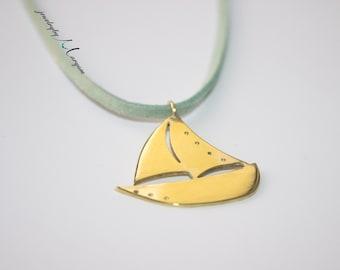 Brass Boat Necklace