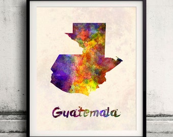 Guatemala - Map in watercolor - INSTANT DOWNLOAD 8x10 inches Poster Wall art Illustration Print Art Decorative - SKU 1583