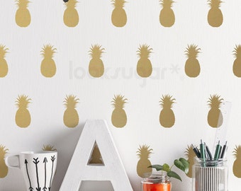 Pineapple Wall Decal . Gold Pineapple Decal with Wallpaper or Wall Stencil Effect - Baby Nursery Wall Decal- LSWP-AP0004NF