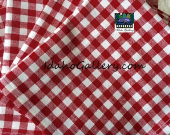 Fabric Napkins Valentine's Day Gift Red and White Gingham Check Set 12 Sustainable Reusable Save the Trees Go Green Earth Friendly