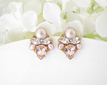 Pink crystal wedding earrings, Pink bridal earrings, Swarovski crystal and pearl earrings, Gold bridal earrings, Bridesmaid earrings