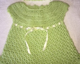 crochet baby dress with matching headband-chartreuse- size 6 mos